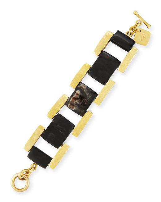Ashley Pittman - Multicolor Muziki Dark Horn & Bronze Rectangular Link Bracelet - Lyst