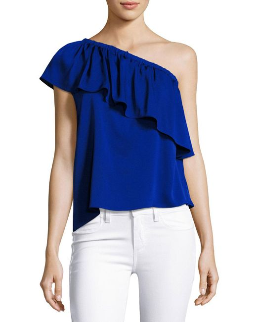 MILLY | Blue Ruffled One-shoulder Stretch-silk Top | Lyst