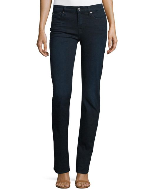 7 For All Mankind   Kimmie Straight Blue Black   Lyst