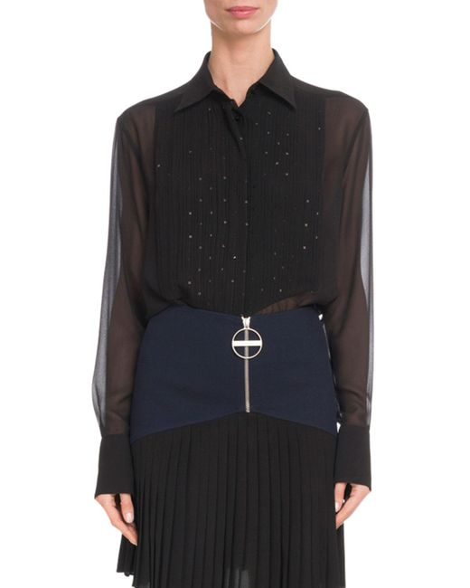 Givenchy - Black Embellished-bib Long-sleeve Silk Chiffon Blouse - Lyst