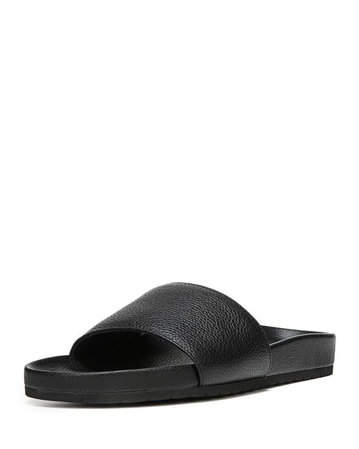 Vince - Black Gavin Leather Pool Slide - Lyst