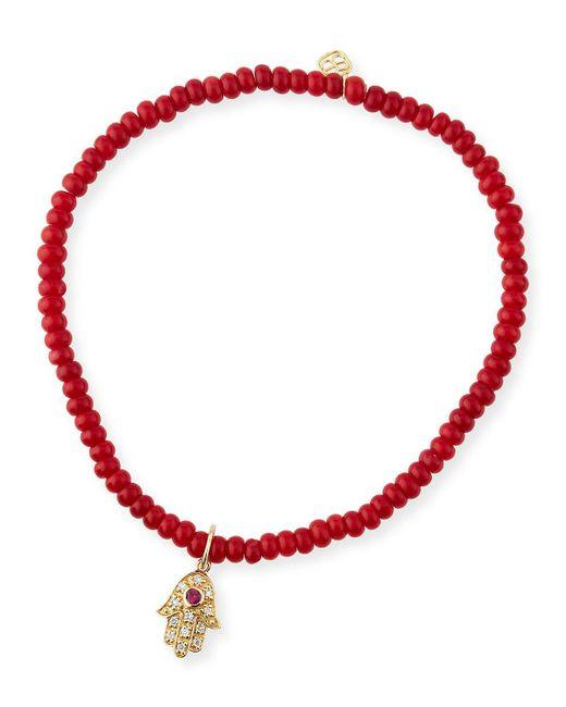 Sydney Evan - Pink Hamsa Diamond, Red Coral & 14k Yellow Gold Hamsa Beaded Bracelet - Lyst