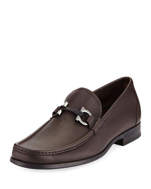 Ferragamo - Brown Grandioso Textured Calfskin Gancini Loafer for Men - Lyst