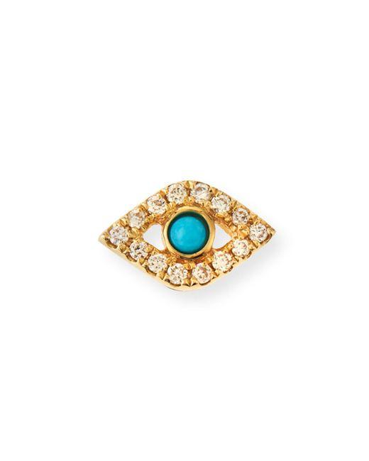 Sydney Evan - Metallic Small Turquoise Cabochon & Diamond Evil Eye Single Earring - Lyst