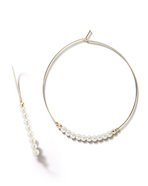 Mizuki - Metallic 14k Gold Large Pearl Hoop Earrings - Lyst