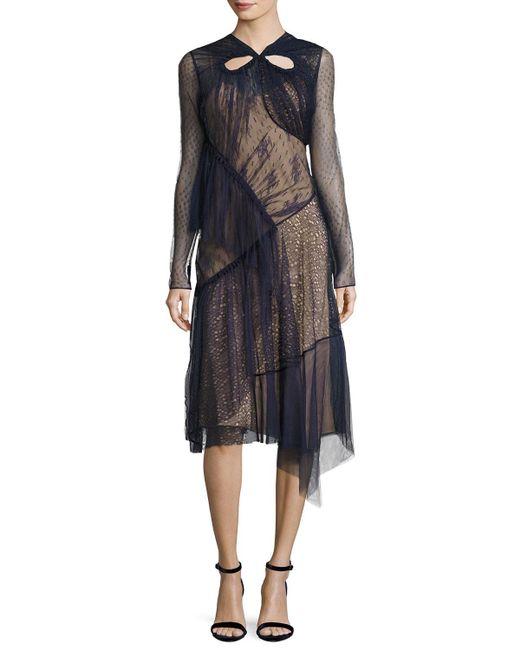 Jason Wu - Blue Long-sleeve Mixed-lace Dress - Lyst
