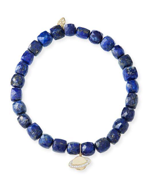 Sydney Evan - Blue 14k Lapis Beaded Stretch Bracelet W/ Saturn Charm - Lyst