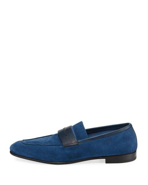 a63cdd44d18 ... Ermenegildo Zegna - Blue La Sola Suede Penny Loafer for Men - Lyst