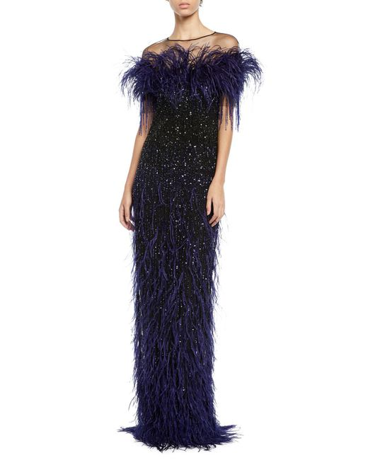 Pamella Roland - Blue Feather & Sequined Illusion Gown - Lyst