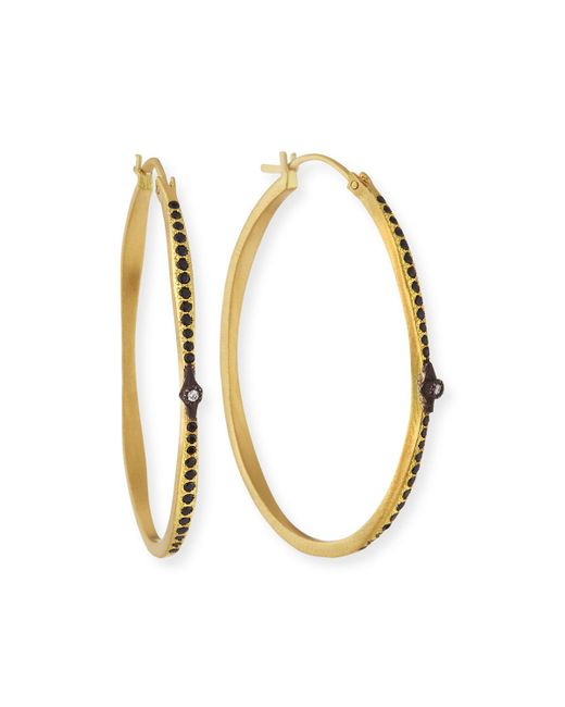 Armenta | Metallic Old World Hoop Earrings With Black Sapphires & Diamonds | Lyst