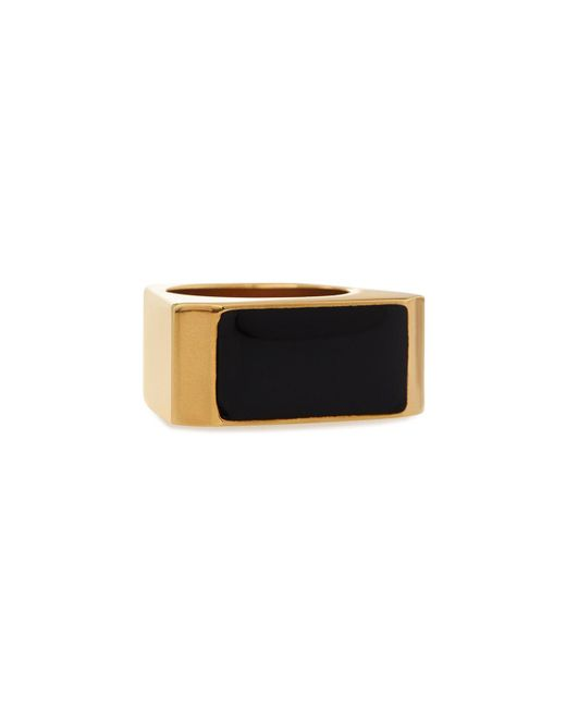 Saint Laurent | White Black/golden Colorblock Ring | Lyst