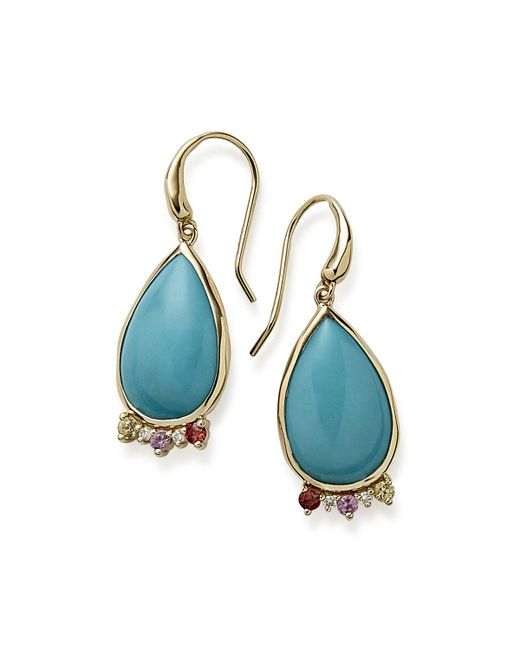 Ippolita - Blue Prisma Dots Turquoise Teardrop Earrings With Sapphire & Diamonds - Lyst