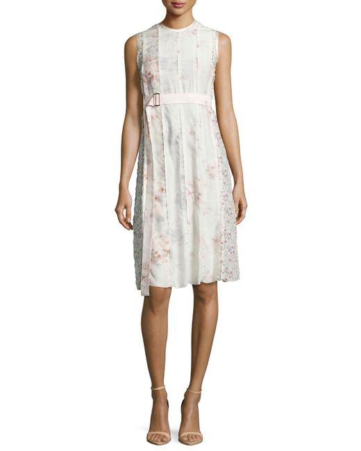 Calvin Klein | Pink Sleeveless Watercolor Floral Dress | Lyst