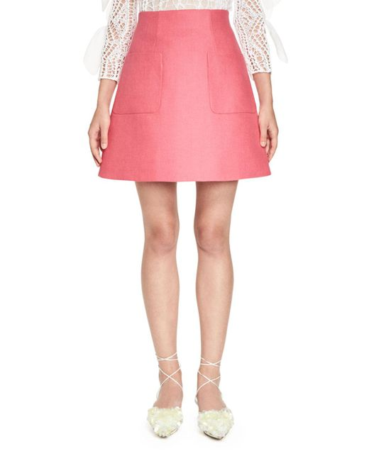 Delpozo | Pink Stiff Linen A-line Skirt | Lyst