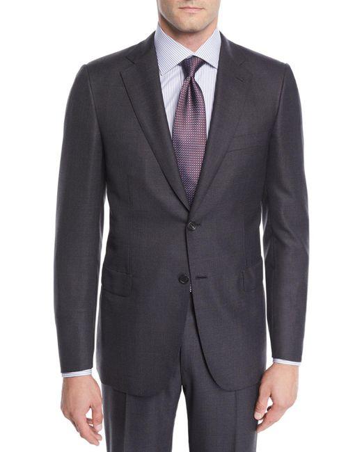 Brioni Gray Men's Wool Windowpane Two-piece Suit for men
