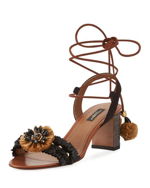 Dolce & Gabbana | Black Leather & Raffia Ankle-wrap Sandal | Lyst