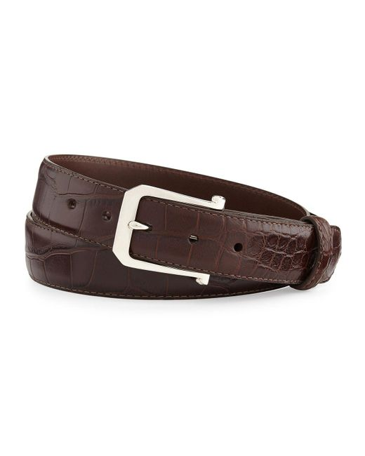 """W. Kleinberg - Brown Matte Alligator Belt With """"the Paisley"""" Buckle for Men - Lyst"""