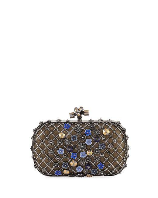 Bottega Veneta | Gray Metal Lattice Mini Knot Clutch Bag | Lyst