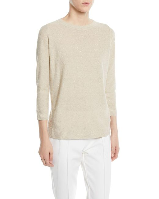 Lafayette 148 New York - Natural Allover Sequin Crew-neck Top - Lyst