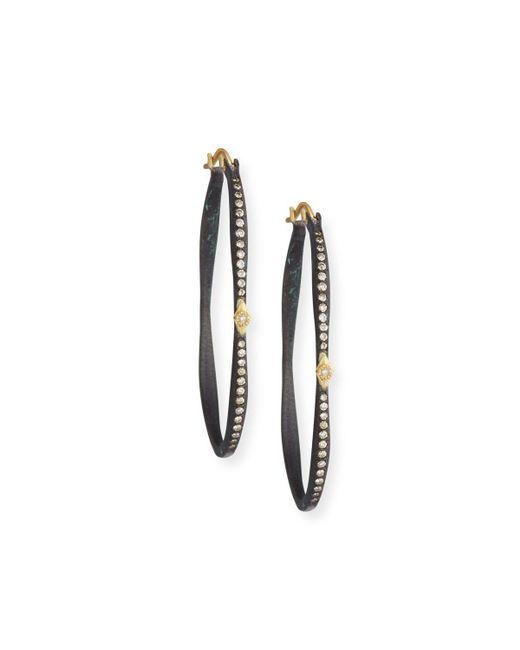 Armenta - White Old World Pavé Diamond Side Hoop Earrings - Lyst