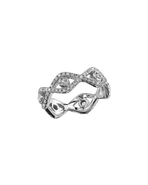 Sydney Evan - Metallic Diamond Evil Eye Eternity Ring In 14k White Gold - Lyst