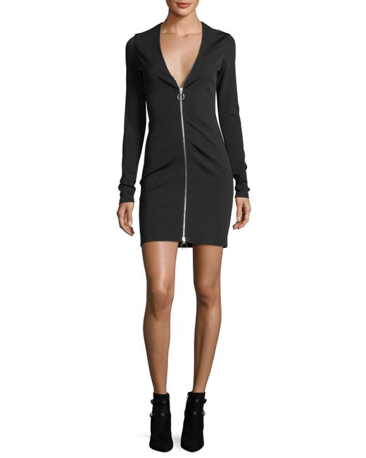 T By Alexander Wang - Black Deep V-neck Stretch Faille Ponte Long-sleeve Dress W/ Zipper - Lyst