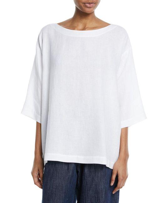 Eskandar - White 3/4-sleeve Linen Tunic - Lyst