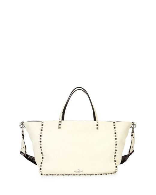 Valentino | White Rockstud Rolling Medium Guitar-strap Tote Bag | Lyst