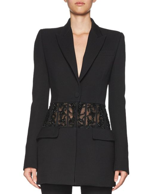 Alexander McQueen   Black Beaded Sheer-panel Jacket   Lyst