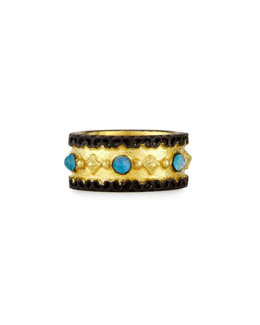 Armenta | Yellow Old World Wide Band Ring With Neon Apatite & White Quartz | Lyst