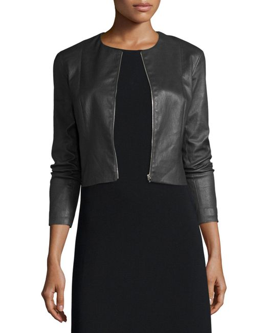 The Row - Black Cropped Leather Zip-front Jacket - Lyst