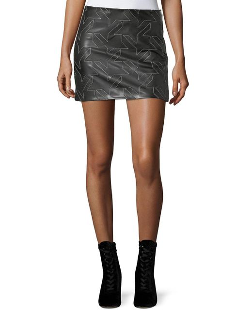 Helmut Lang | Black Houndstooth Leather Mini Skirt | Lyst