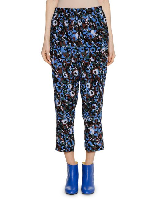 Marni - Blue Printed Straight-leg Cropped Silk Pants - Lyst