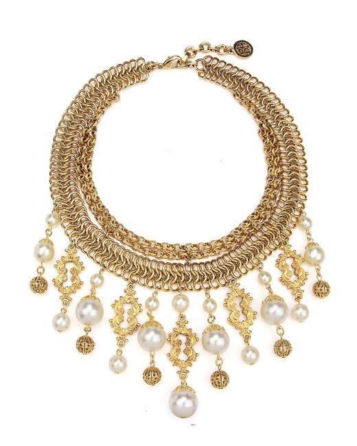 Ben-Amun - Metallic Golden Chain Multi-drop Pearly Bib Necklace - Lyst
