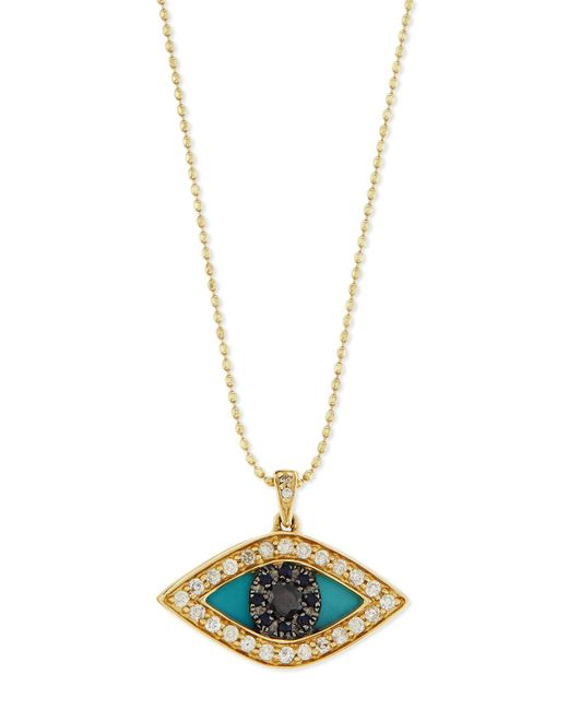 Sydney Evan   Metallic Diamond Evil Eye Swivel Pendant Necklace   Lyst