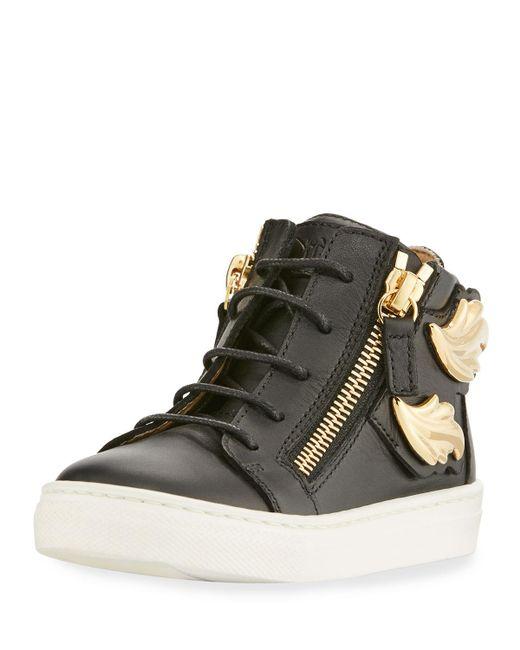 Giuseppe Zanotti | Black Kids' Unisex Wing Leather Sneaker | Lyst