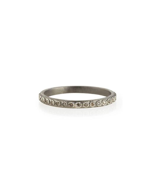 Armenta - White Champagne Diamond Silver Stackable Ring - Lyst