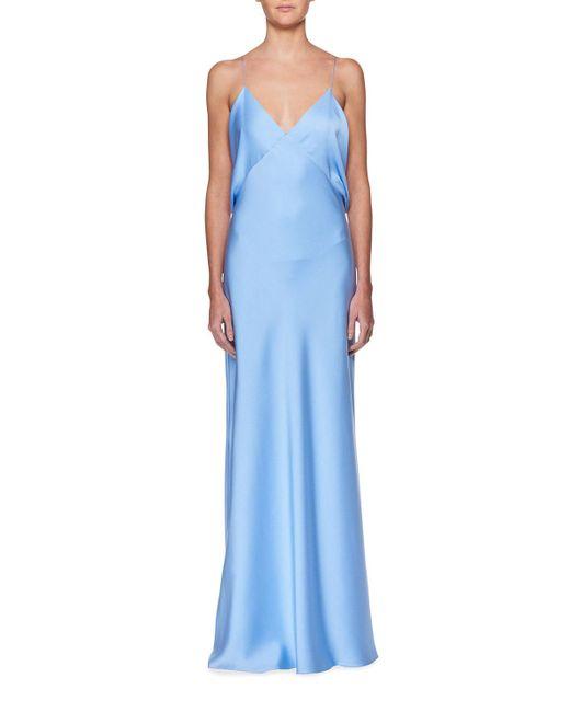 The Row - Blue Gran V-neck Draped-back Sleeveless Silk Evening Gown - Lyst
