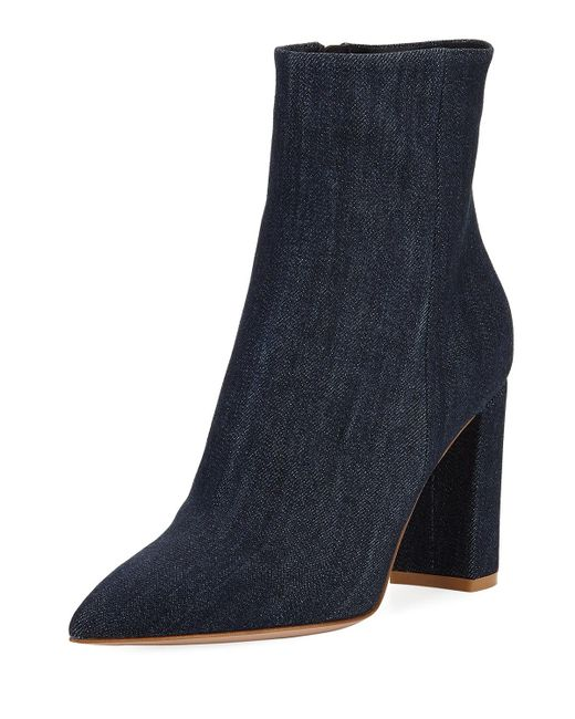 Gianvito Rossi - Blue Denim Point-toe 85mm Boots - Lyst
