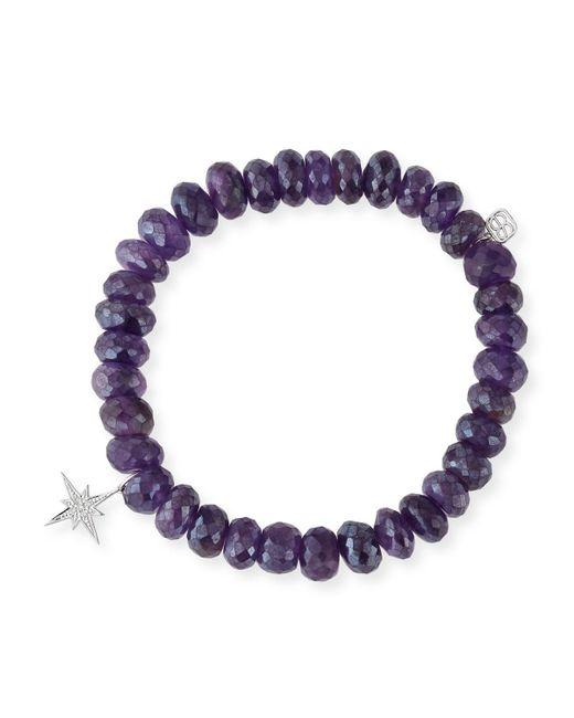Sydney Evan   Purple 8mm Beaded Amethyst Bracelet With Diamond Starburst Charm   Lyst