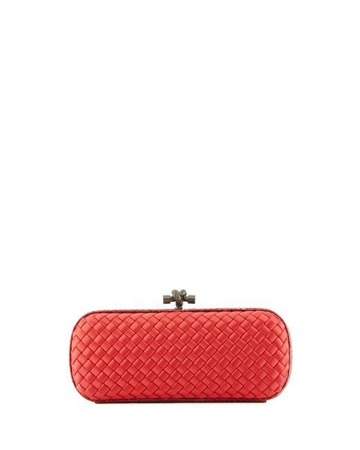 Bottega Veneta   Red Elongated Knot Intrecciato Minaudiere Bag   Lyst
