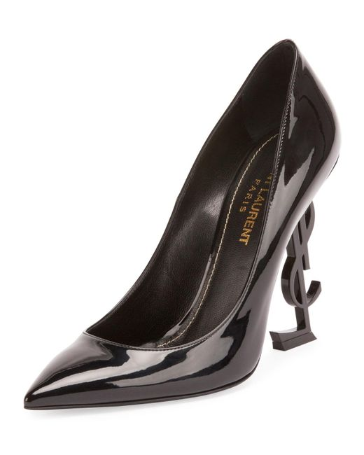 c31e44237170 Saint Laurent - Black Patent 110mm Ysl-heel Pumps - Lyst ...