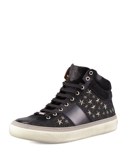 Jimmy Choo - Black Star-studded Hi-top Sneaker for Men - Lyst