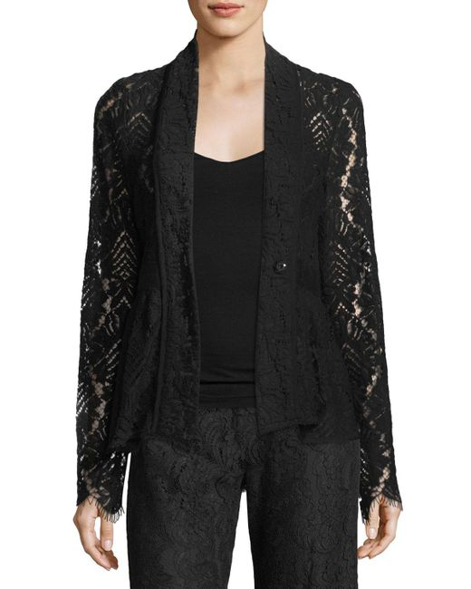 Nanette Lepore | Black Genevieve One-button Lace Jacket | Lyst