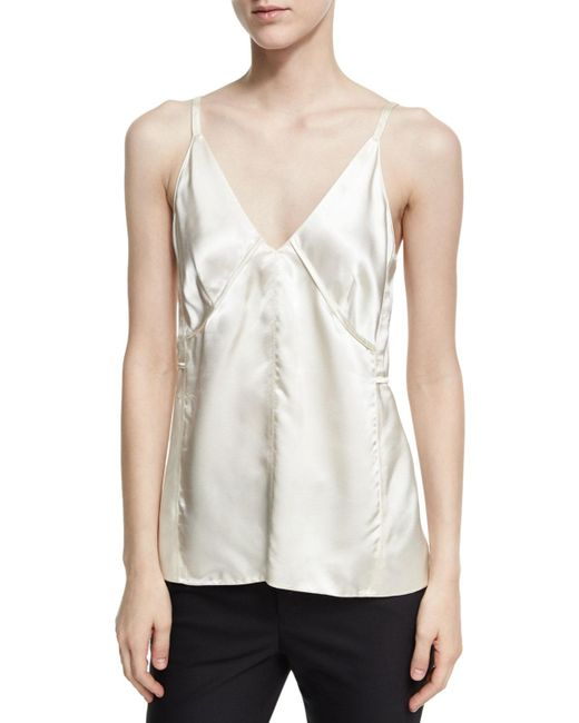 Helmut Lang - White Deconstructed Sateen Slip Top - Lyst