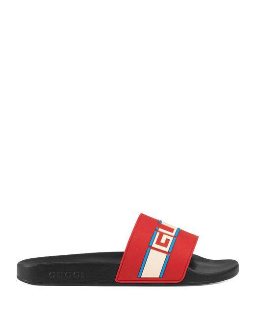 9f7578d1b84e Lyst - Gucci Stripe Rubber Slide Sandal in Red - Save 9%