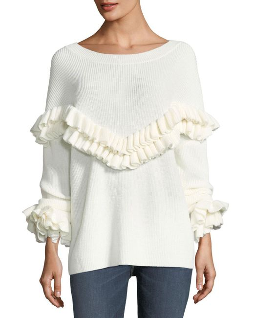 FRAME - White Ruffle-yoke Ribbed Sweater - Lyst