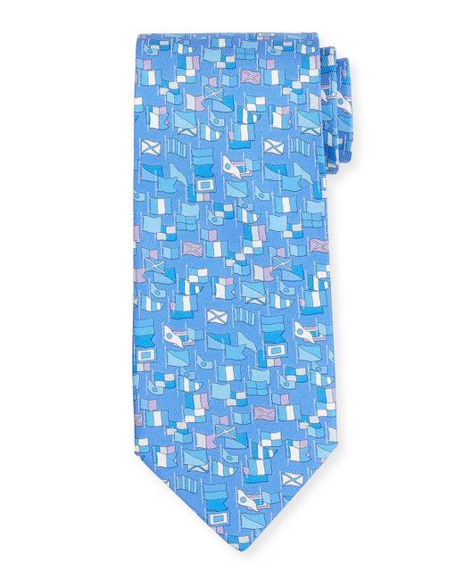 Ferragamo - Purple Sailboat-print Silk Tie for Men - Lyst