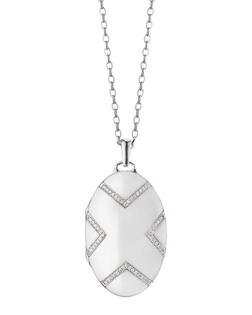 Monica Rich Kosann - Metallic 18k White Gold Ceramic Chevron Locket - Lyst