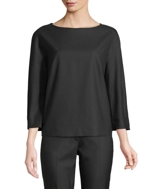 Max Mara - Black Nectar Boat-neck Long-sleeve Wool-silk Blouse - Lyst
